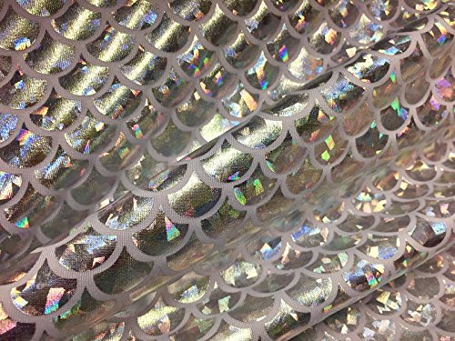 Tissu imprimé écailles de sirène, matériau bi-extensible Lycra et élasthanne – 150 cm de large – hologramme argenté et blanc (vendu au mètre)