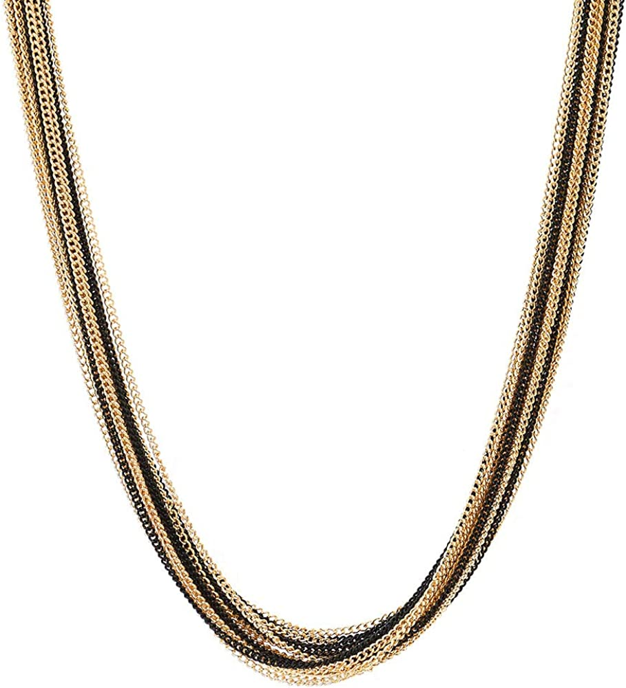 COOLSTEELANDBEYOND Gold Black Statement Necklace Multi-Strand Long Chains with Black Gem Stone Charms Pendant, Dress