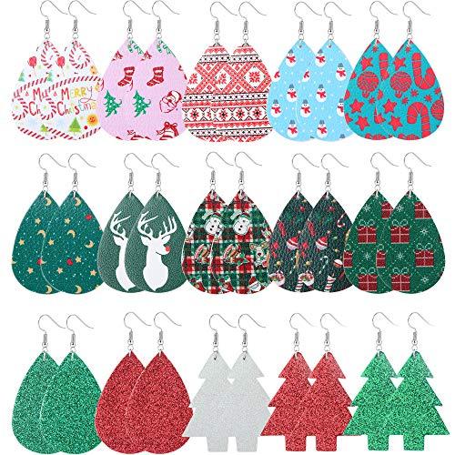 Hanpabum 15 Pairs Christmas Faux Leather Earrings for Women Girls Xmas Lightweight Teardrop Dangle Earrings for Christmas Party