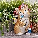 teresa's collections giardino decorazioni animali da giardino resina,statuetta a forma di gatto da giardino 29cm in resina resistente alle intemperie decorazione da giardino da giardino