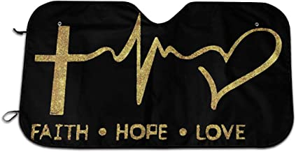 CHILL·TEK Faith Hope Love Sign Universal Car Windshield Sun Shade Interior Protector Block Sun Heat Size 51.2x27.5 Inch