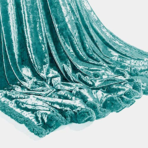 Y-H Yorkshire Homeware Shiny Crushed Velvet Sofa or bed Throws Blankets 150 x 200cm (Duck Egg)