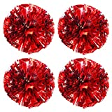 TTSAM 4 Pack (2 Pair) Metallic Foil Cheerleader Pom Poms & Plastic Ring Cheer Poms with Baton Handle Cheerleading Pompoms for Sports Party Dance Team Accessories Cheering Squad Spirit (Red & Silver)