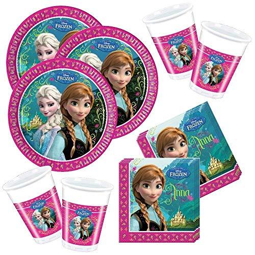 CAPRILO. Lote de Cubiertos Infantiles Desechables Frozen (8 Vasos, 8 Platos, 20...