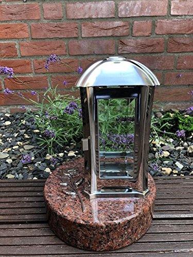Steen & Meer Graf Licht 24 cm x 13 cm x 13 cm Grave Lantaarn en 3D Rose RVS Inclusief Graniet Base Vanga 22 cm x 22 cm x 6 cm Moderne Lamp met Basis en Relief
