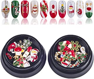 2 Box Christmas Faux Nails, Kalolary Gold Silver Metal 3d Diamonds Nail Art Christmas Decorations Holiday Artificial Nails Glitter Rhinestones Nail Supplies Jewelry
