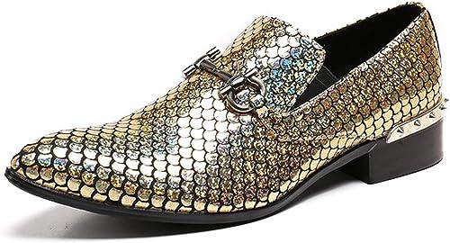 Rui Landed Oxford para el Hombre zapatos Formales de Deslizamiento en el Estilo Cuero Genuino Brillo Colorida Textura Delicada Metaldecor Discoteca