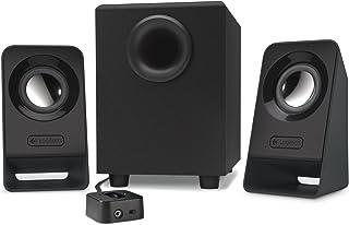 Logitech Z213 2.1 system głośników z subwooferem, moc szczytowa 14 W, wejście 3,5 mm, gniazdo słuchawkowe, elementy obsług...