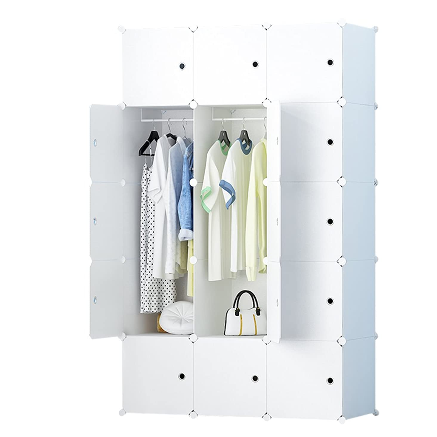 ブランド名ハント冊子LifeDIY 収納ボックス 扉付き 収納棚 衣類収納ラック 組み立て式 ダンス おしゃれ 110x181x45cm 大容量 純白 アニメシール付き 15