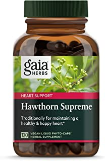 Gaia Herbs Hawthorn Supreme, Vegan Liquid Capsules, 120 Count - Promotes Heart Health & Stimulates Healthy Circulation, Or...