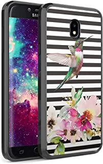 Capsule Case Compatible with Samsung Galaxy J7 2018 (J737), J7 Star, J7 Aero, J7 Refine, J7V 2nd Gen, J7 Crown, J7 Eon [Slim Hard Back Shield TPU Bumper Case Black] - (Hummingbird)