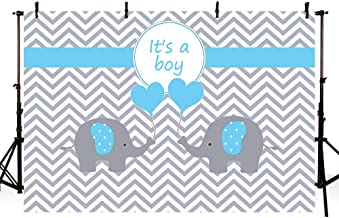 MEHOFOTO 7X5ft Cute Elephant Boy Baby Shower Party Backdrop Props Grey White Wave Welcome Decorations Photography Background Photo Banner