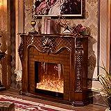Fuego eléctrico Estufa de chimenea eléctrica 3D Soporte para chimenea Consola de TV universal Estantes de almacenamiento para sala de estar Centro de entretenimiento (Color:Marrón,Tamaño:120x102x33cm)