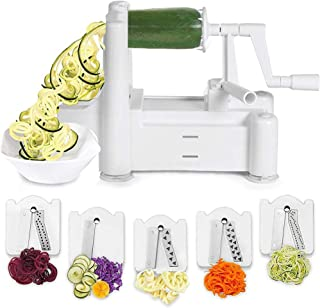 Spiralizer Vegetable Slicer 5 Blades Zoodle Maker with Anti Slip Suction Pad Veggie Spiralizers Spiral Noodle Spaghetti Pa...