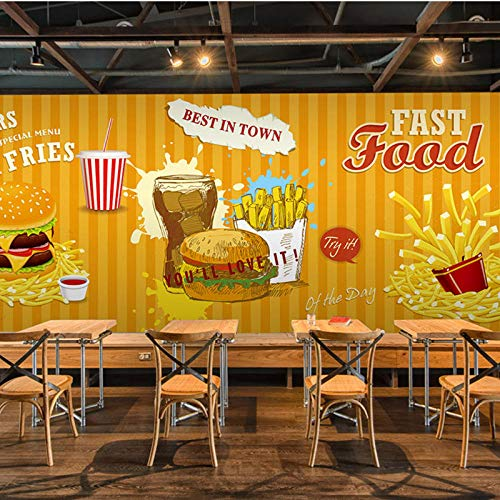 3D Photo Wallpaper Fast Food Hamburger,Frans Fries Restaurant Koffie Dessert Shop Behang, Eetkamer Behang muurschildering 280cm (B) x 180 cm (H)