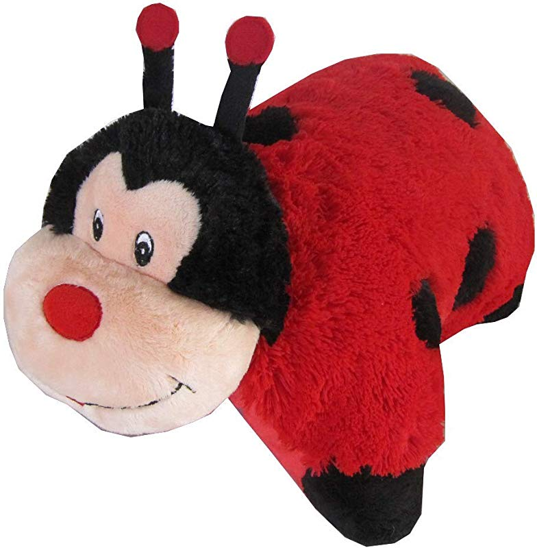 Lady Bug Zoopurr Pets 19 Large 2 In 1 Stuffed Animal And Pillow With Embroidered Eyes Expandable Cushion Premium Soft Plush Cute Toy Travel Comfort Great Present For Toddlers Kids