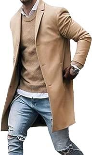 Men Winter Trench Coat Slim Fit Turn Down Collar Knit Cuffs Woolen Coat Business Jacket Overcoat