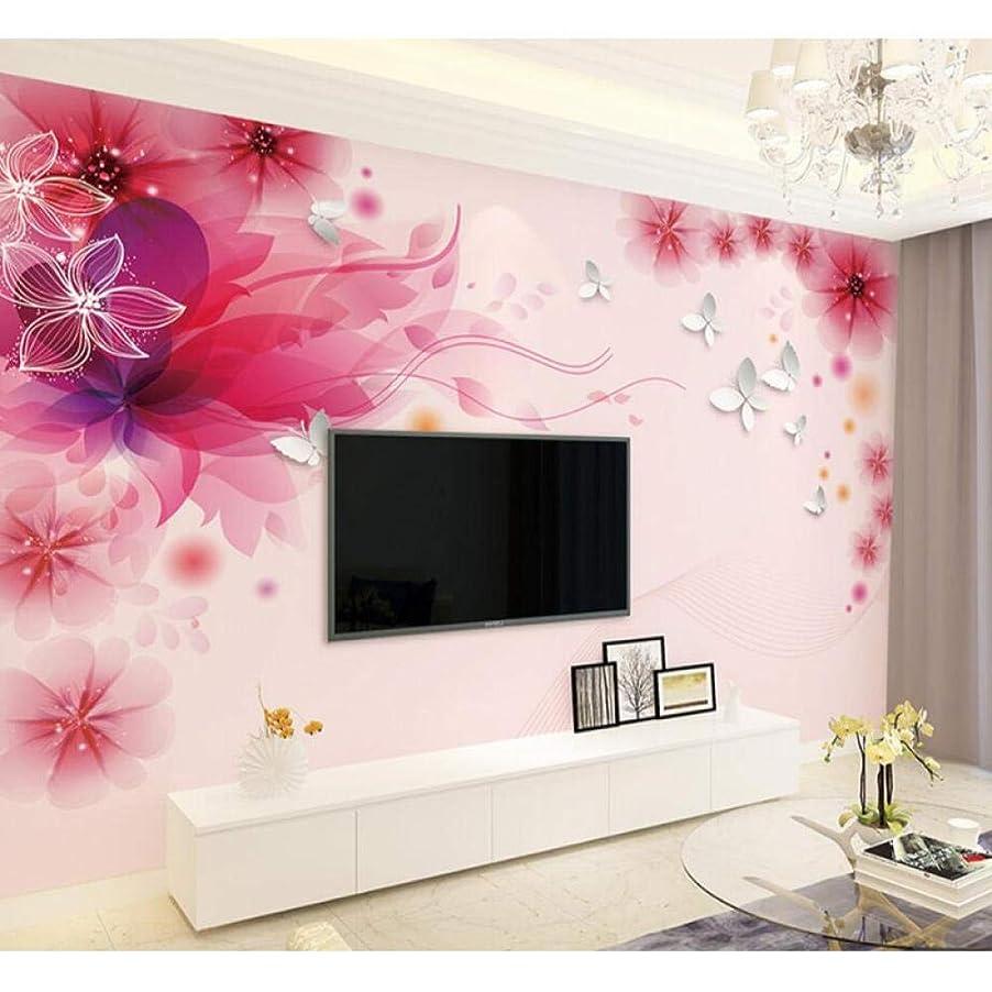 七面鳥ひねり繰り返す赤い花の蝶の壁紙壁画、リビングルームのテレビの背景の壁の写真の装飾のための写真の壁紙3d 280 cm(W)x 180 cm(H)