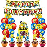 Birthday Party Supplies - The Simpsons Birthday Party Decoration Includes Happy Birthday Banner,Balloon,Cake Toppers for The Simpsons Party Supplies