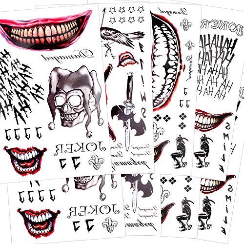 Konsait 82 piezas SuicidePelícula Tatuaje Joker Tattoos Halloween tatuajes...