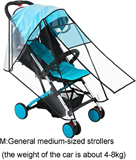 JMcall Stroller Rain Cover Universal Protective Windproof Waterproof Anti-dust(Color:White & Material:PEVA)