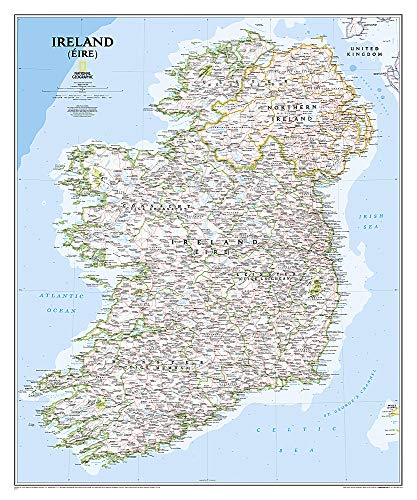 National Geographic: Ireland Classic Wall Map - Laminated (30 x 36 inches) (National Geographic Reference Map)