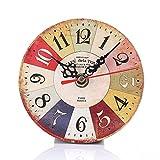 NEEKY Pendule Murale en Bois Décoration Industrielle Design Horloge Murale Silencieuse Style Vintage pour Accueil Cuisine Bureau Pendules et horloges
