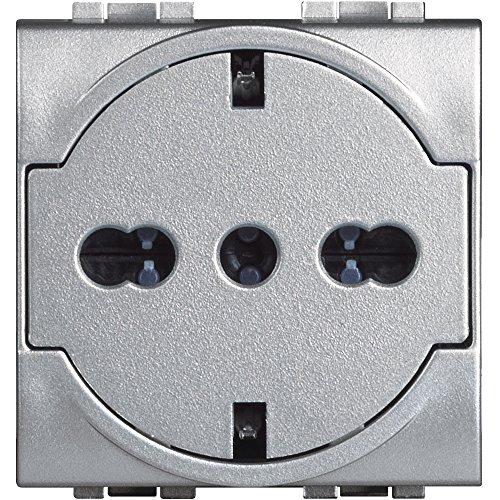 Bticino snt4140V16ff livinglight Flat Tech Enchufe estándar alemán/Italiano, Aluminio