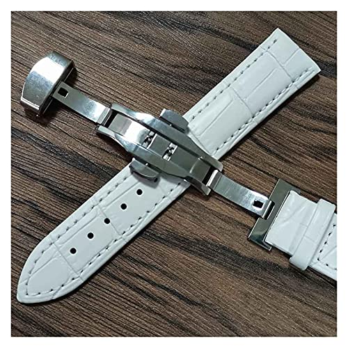 LIANYG Correa De Reloj Cintas de Reloj de Cuero 14mm 16mm 18 mm 19 mm 20 mm 21mm 22mm 24mm Reloj de Reloj Suave Lata de Correa 493 (Band Color : White Silver, Band Width : 20mm)