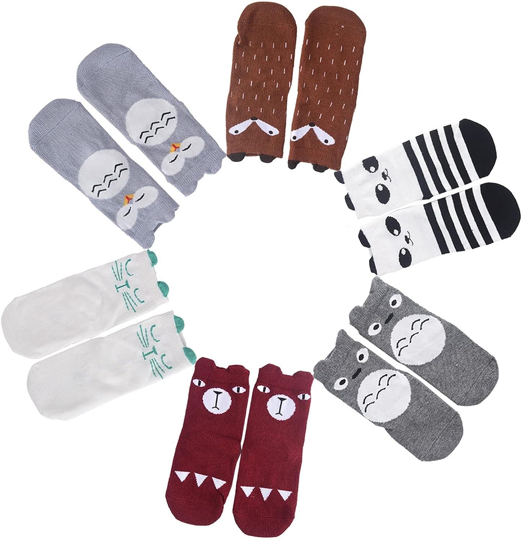 OLABB Kids Socks Baby Socks Knee High Socks Set Animal Theme with Gift Bocx for Unisex Baby 6 Pack Set