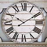 Large Wall Clock, Vintage Distressed Shiplap Decorative Roman Wall Clocks, Silent Wooden Farmhouse Clock for Living Room, Dining Room, Bedroom, Den, Shelf (24-Inch, White)