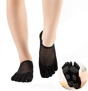 2 Pares Calcetines de Dedos Separados para Yoga, Mujer Silicona Antideslizante Punto Algodón Yoga Pilates Calcetines para Fitness/Danza/Ballet