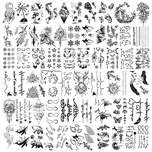 Temporary Tattoo, 60 Sheets Fake Tattoos That Look Real for Women Men Adults, Cute Tiny Waterproof Temporary Tattoos Body Face Neck Arm Tattoo Stickers for Kids Girls Boys