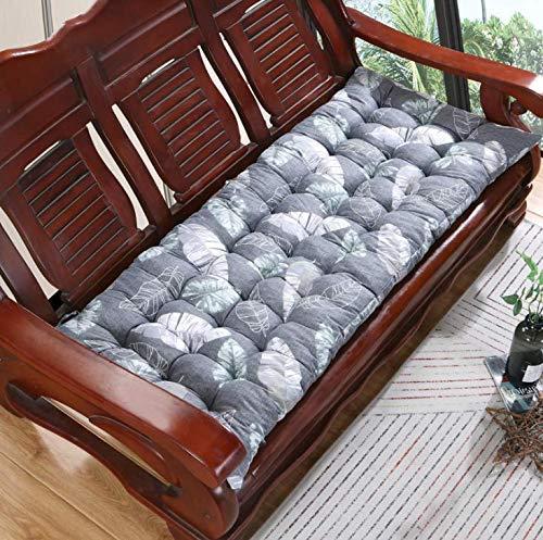 ZYX Cojín tapizado para asiento de banco de 8 cm de grosor, cojín de banco rectangular de relleno suave para silla mecedora de jardín al aire libre para 1/2/3/4 plazas (gris 180x55cm)