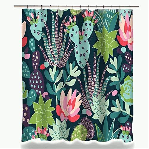 ZXL groene potplanten cactus vetplant print douchegordijn polyester waterdicht badgordijn met stof 12 haken 150W x 180H 003