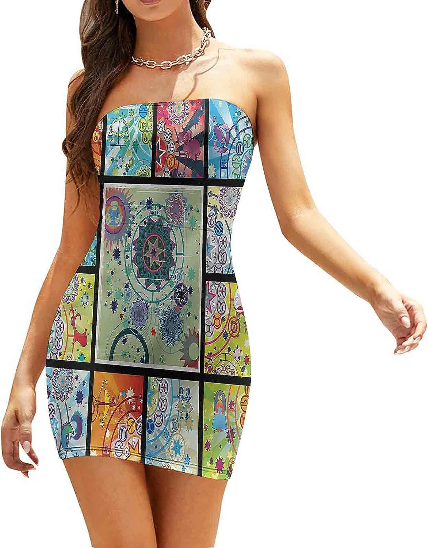 SUZM Women's Strapless Bodycon Club Dress Monochrome Constellation Dresses