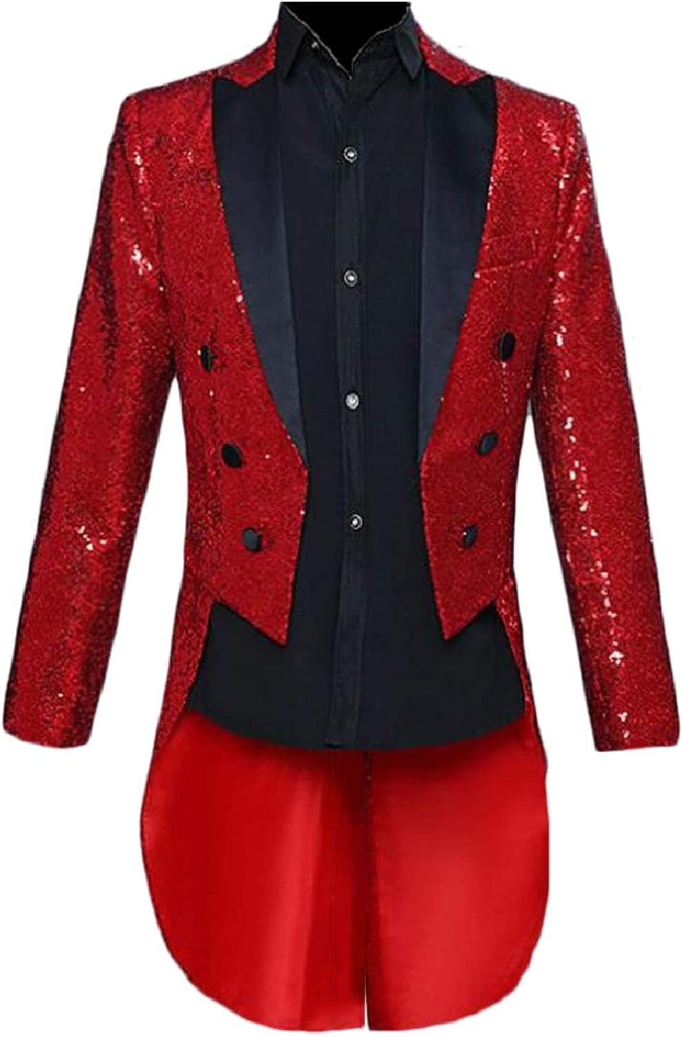 CBTLVSN Mens Slim Tailcoat Sequin Swallowtail Dinner Party Wedding Blazer Suit Jacket