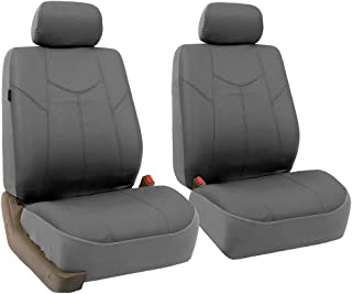 FH Group FH-PU009102 Rome PU Leather Pair Set Car Seat Covers, Airbag Compatible, Solid Gray - Fit Most Car, Truck, SUV, or Van