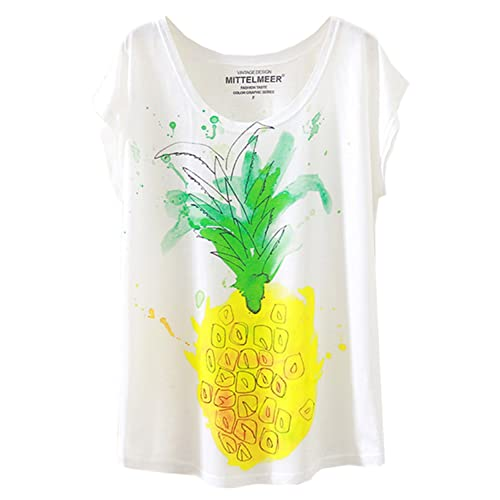 bb28ebbf391 Futurino Women s Cute Pineapple Print Fruit Graphic Short Sleeve T-Shirt  Tops