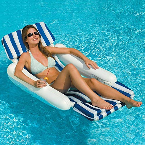 SunChaser Swimming Pool Padded Floating Luxury Lounge Chair Float Lounger Padded Sunsoft, Blue -  ToToStore