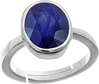 Blue Sapphire/Neelam 8.4 Cts Or 9.25Ratti Stone 92.5 Sterling Silver Adjustable Ring For Men By Gems Hub