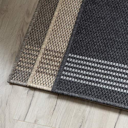 Teppich-Läufer Natura in Sisal-Optik | Hochwertige Verarbeitung | Tiger-Eye Struktur | Erhältlich in 3 Farben & vielen Größen | Langlebig & strapazierfähig (80 x 150 cm, Anthrazit)