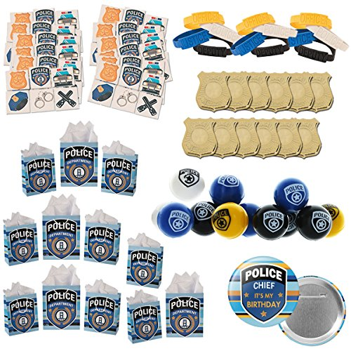 My Family Gift Shoppe 120 Piece Police Party Supplies Birthday Favors Bundle for 12 People