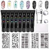 Buitee Stamping Nail Art kit -5 Piezas Placas Uñas,8 Colores Stamping Gel
