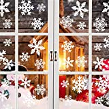 YQHbe NoëL Autocollant Fenêtre,108 PCS Flocons De Neige Autocollants pour FenêTre Amovibles Statique PVC Autocollants Fenetre Décalcomanie pour Decoration Noel,Hiver Decoration Fenetre Réutilisables