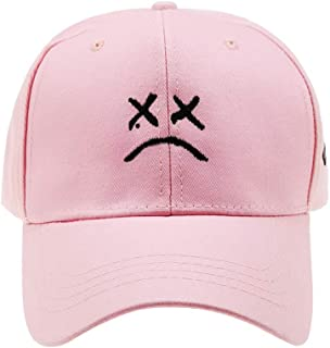 Women Men Hip Hop Cap ,Sad face Dad Hat Embroidery Baseball Hat, Cap,Golf Love Snapback Women Men Black