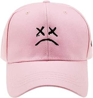 Cotton Sad face Embroidery Baseball Cap Adjustable Dad Hat Men Women Hip Hop Cap Snapback Black White Pink Choose