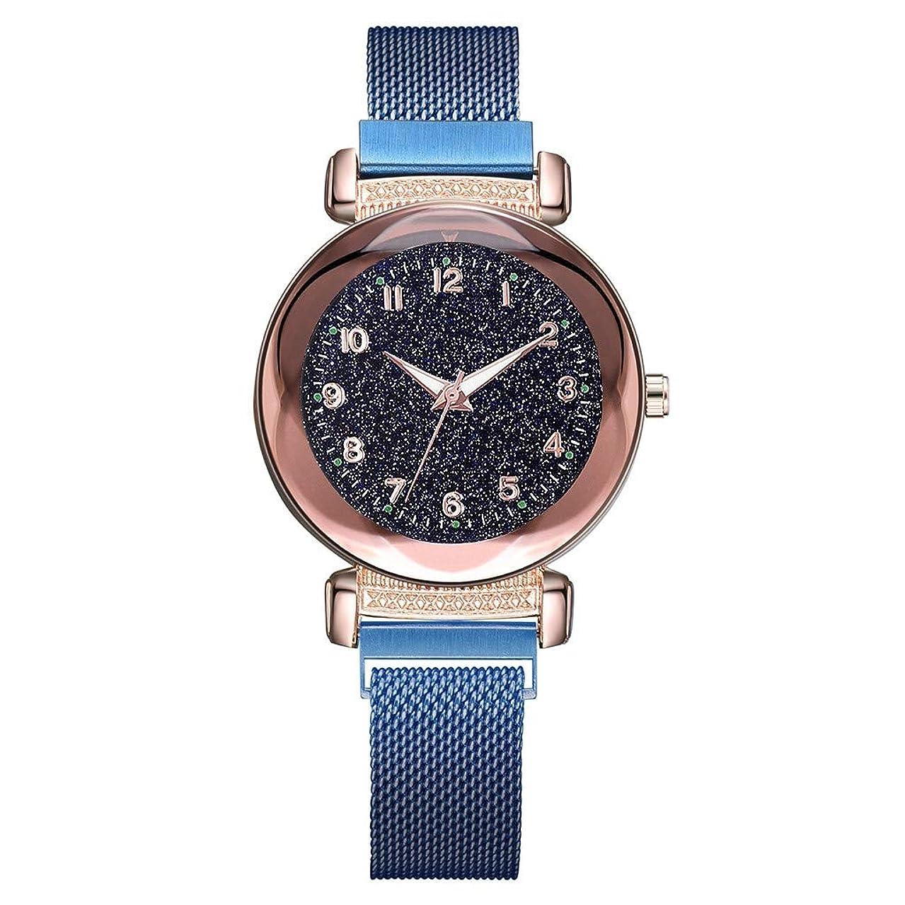 ワイド熱断言する人気 高級 ファッション レディース ガールズ 腕時計-Waminger[ワミナー] 時計軽量 快適 上品さ おしゃれ プレゼントマルチスケール 発光 小ダイヤル ファッション クォーツ メッシュ女の子 姬風 流行 安い ウオッチ(ブルー)