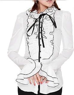 【Micopuella】 フリルブラウス ゴスロリ ブラウス 姫袖 立ち襟 リボンタイ フリルシャツ ロリィタ 中世