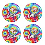 Tie Dye Happy Birthday Balloons - 4 Piece Theme Set of Colorful Tie dye Party Supplies or Decorations For A Groovy Tiedye Hippie Happy Birthday